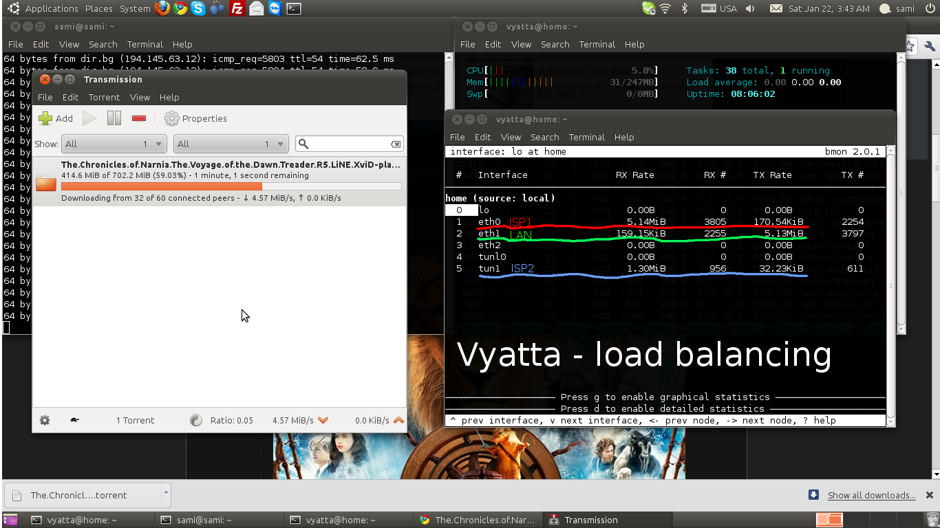 Vyatta in my office - Load balancing, access point, DHCP, QOS ...